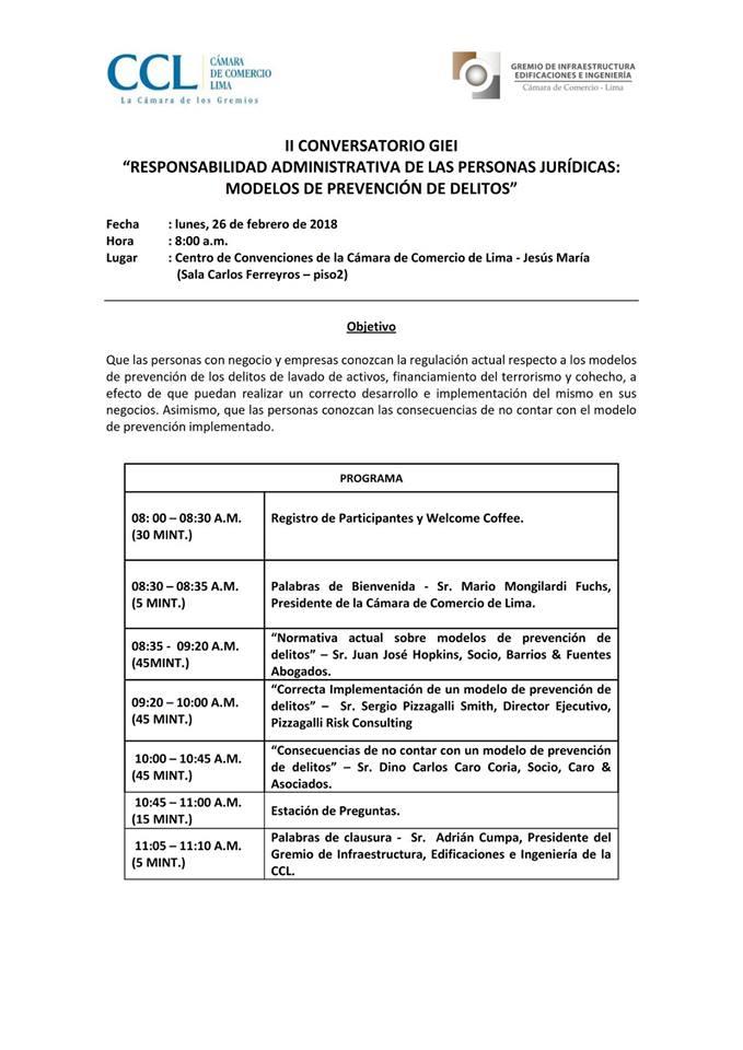 """II Conversatorio GIEI """"Responsabilidad Administrativa De Las Personas Jurídicas: Modelos De Prevención De Delitos"""""""