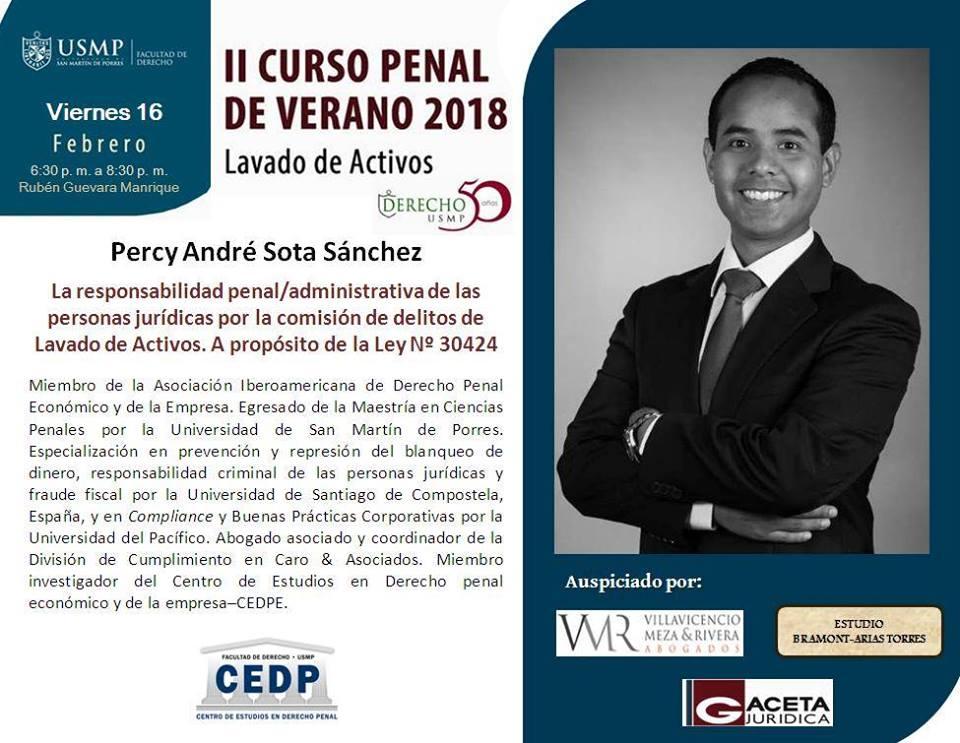 Nuestro Abogado Asociado Y Coordinador De La División De Cumplimiento De Caro & Asociados, André Sota, Expuso El 16-02-18