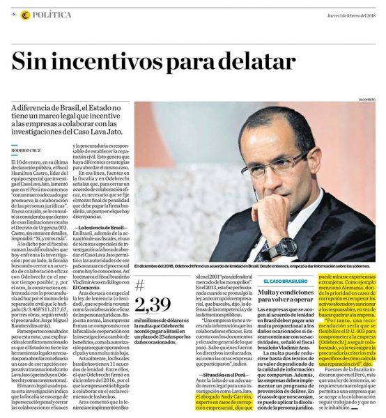 Andy Carrión Refiere En El Comercio 01-02-18