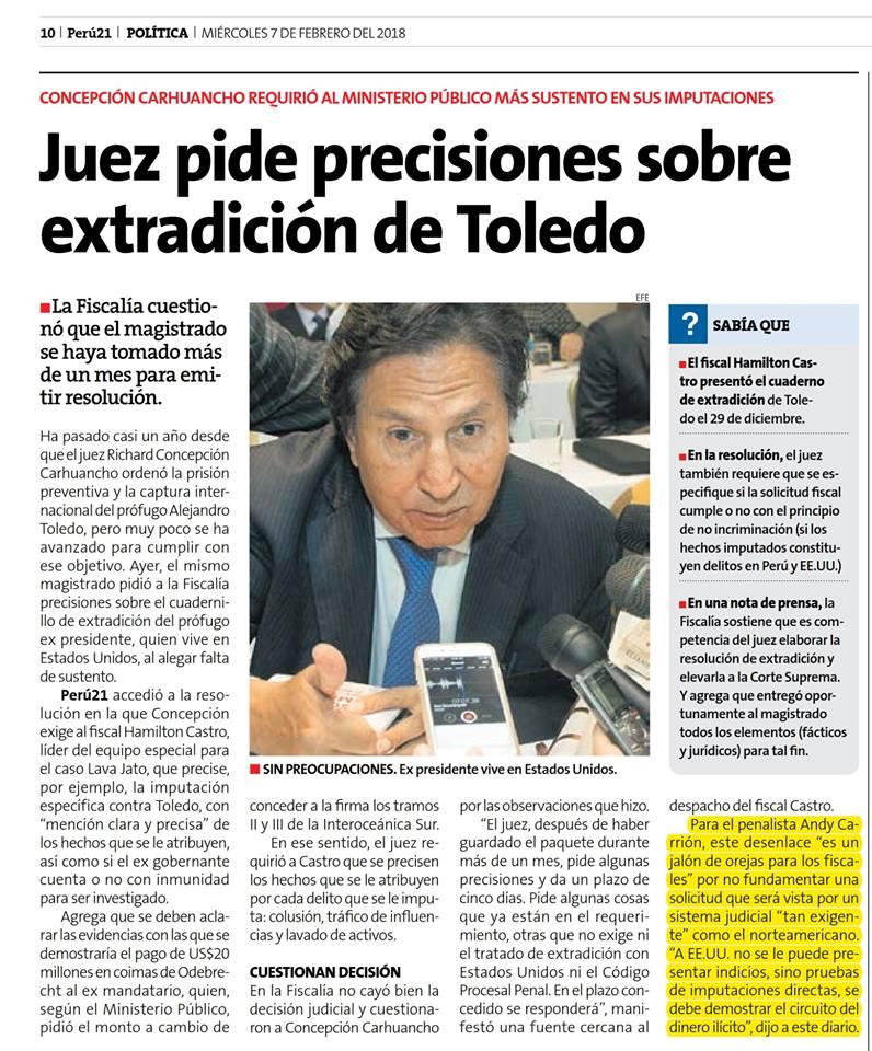 Andy Carrión Opina En Perú21.pe 07-02-18
