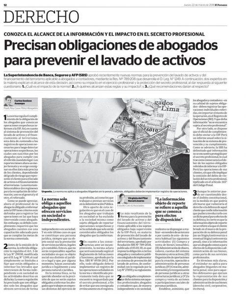 Artículo De Nuestra Consultora De La División De Compliance, Virginia Naval Linares, Publicado En El Diario El Peruano 22-03-18