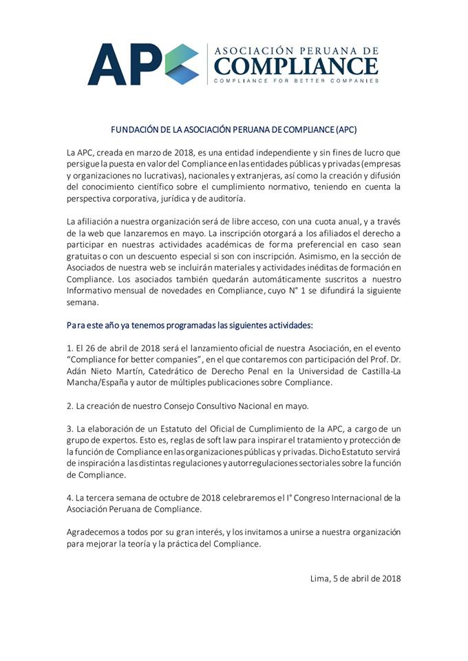 Caro & Asociados Anuncia La Creación De La Asociación Peruana De Compliance