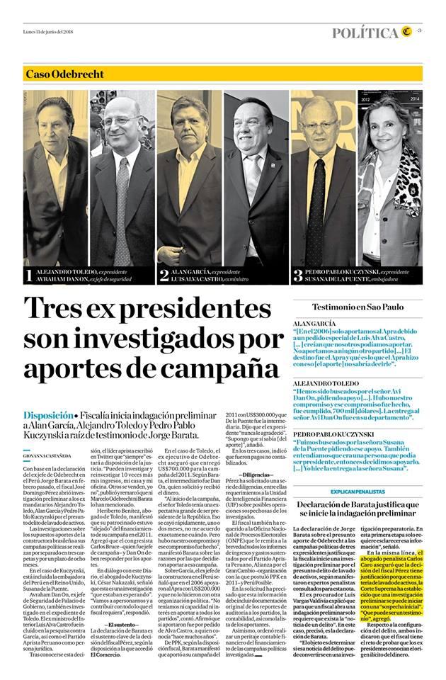 TRES EXPRESIDENTES SON INVESTIGADOS POR APORTES DE CAMPAÑA
