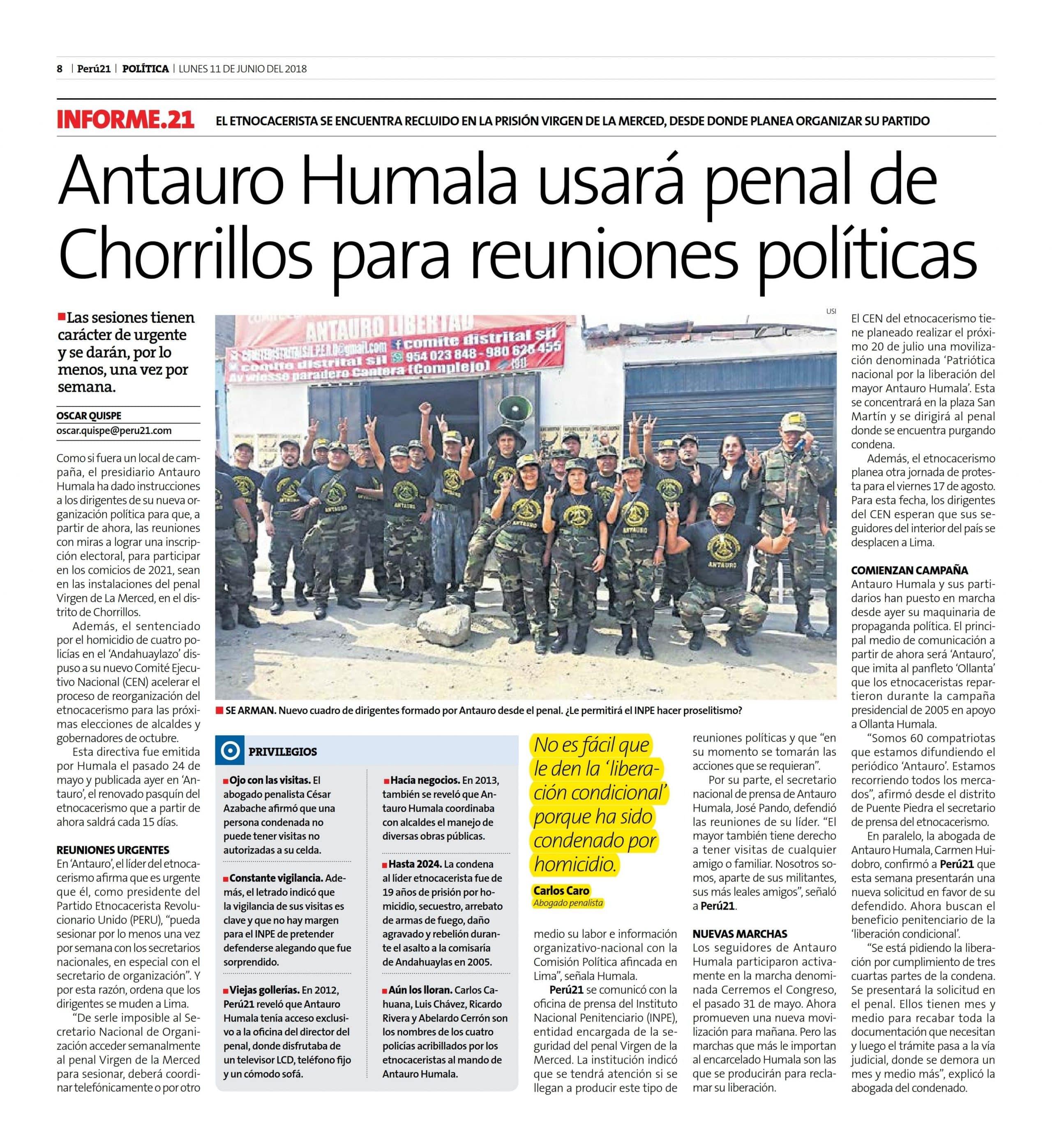 ANTAURO HUMALA USARÁ PENAL DE CHORRILLOS PARA REUNIONES POLÍTICAS
