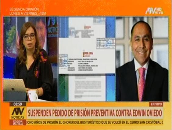 CARLOS CARO EN ATV – PJ SUSPENDE PRISIÓN PREVENTIVA CONTRA EDWIN OVIEDO