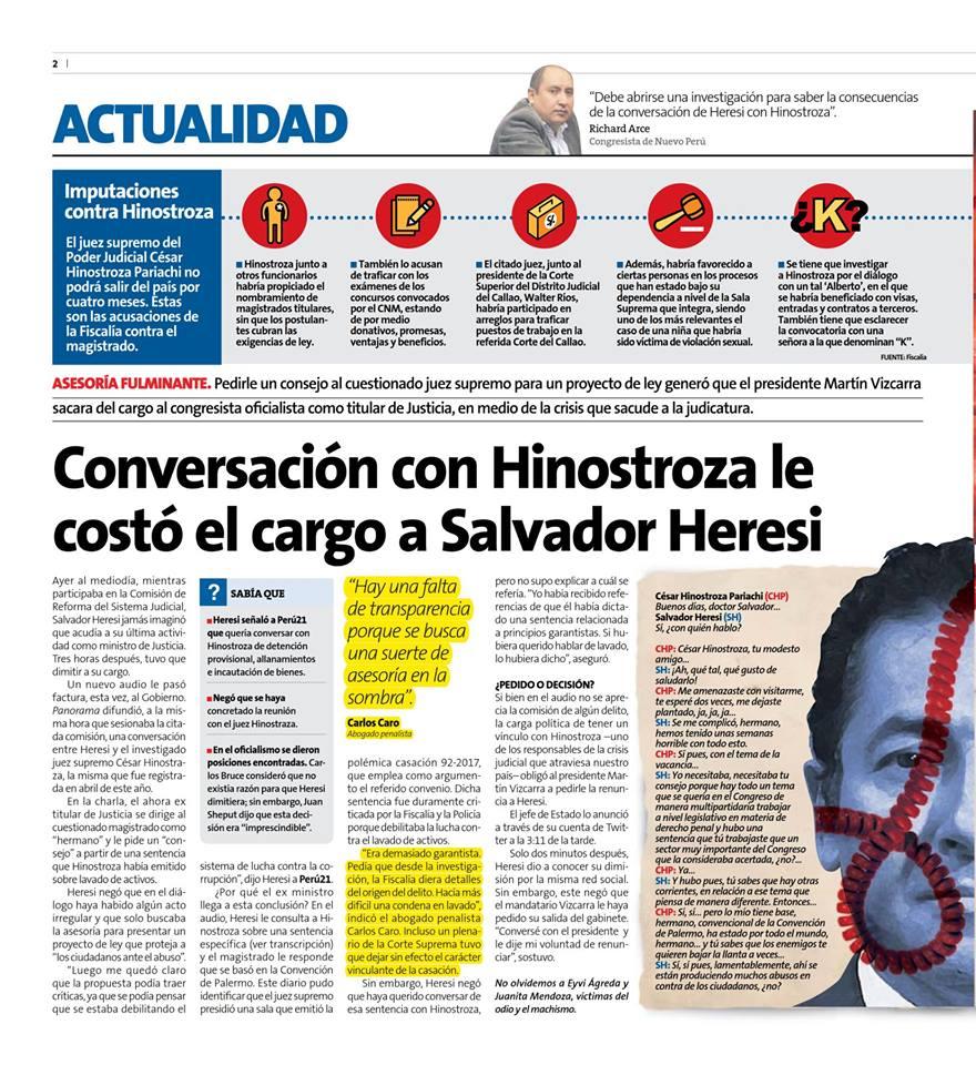 Conversación Con Hinostroza Le Costó El Cargo A Salvador Heresi