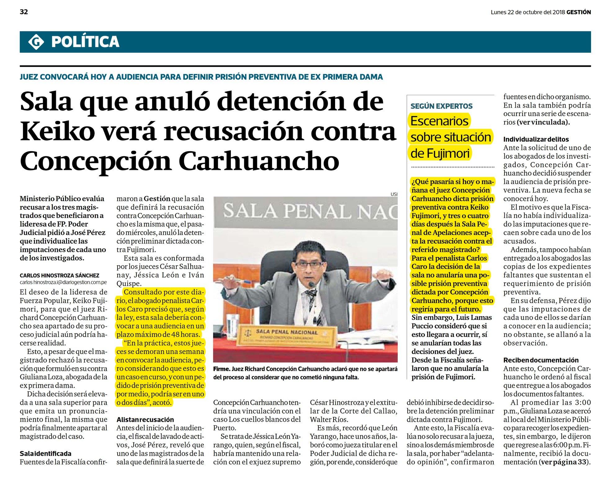 Carlos Caroopina EnDiario Gestión(22.10.18)
