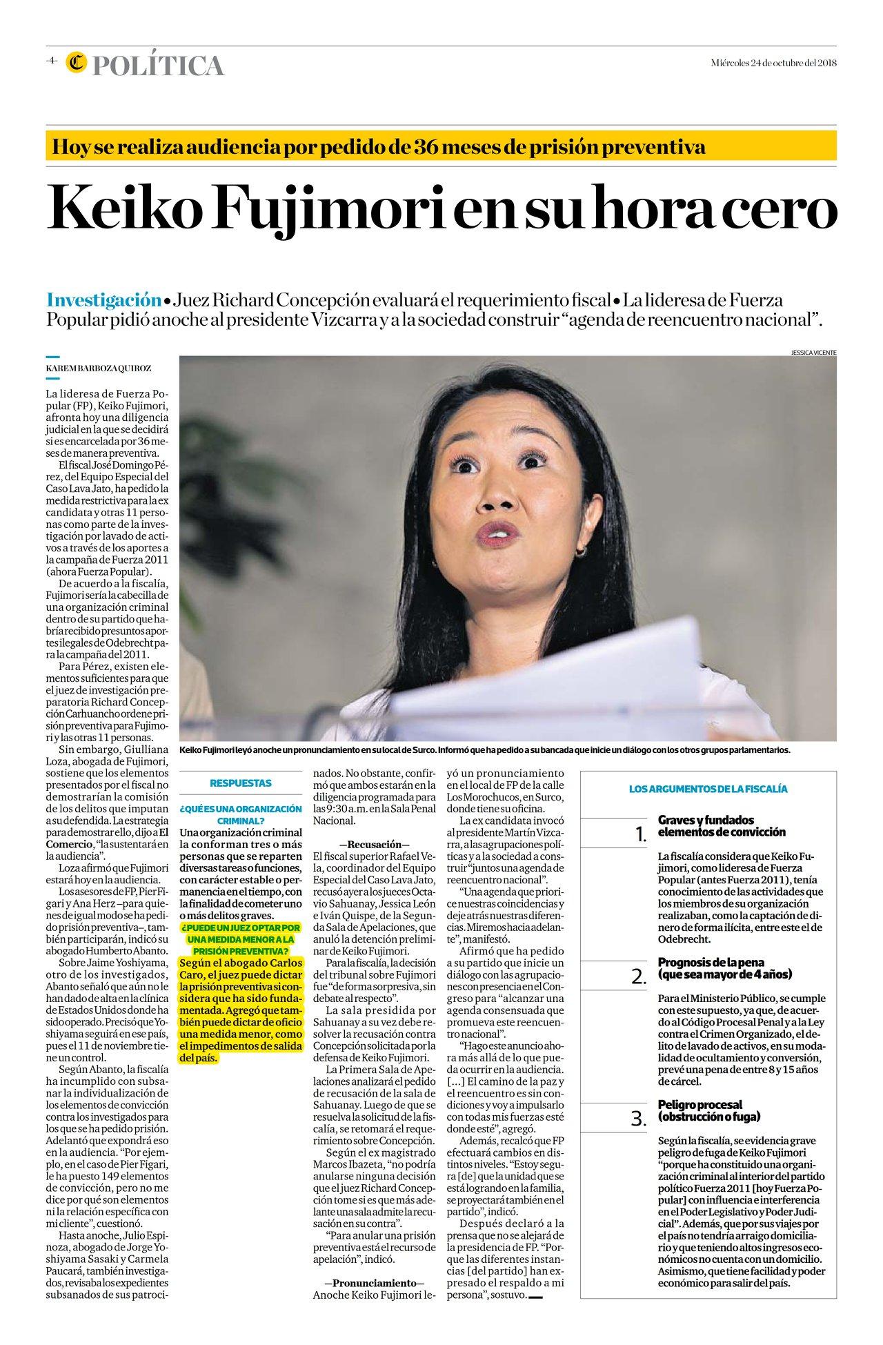 Carlos Caroopina EnDiario El Comercio (Perú)(24.10.18)