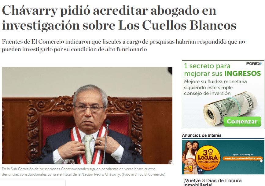 Carlos Caro Coriacomenta En ElDiario El Comercio (Perú)