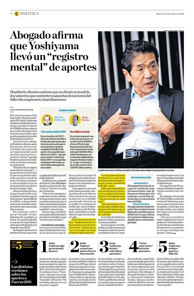 Carlos Caro Coriaopina En ElDiario El Comercio (Perú)(27.11.18)
