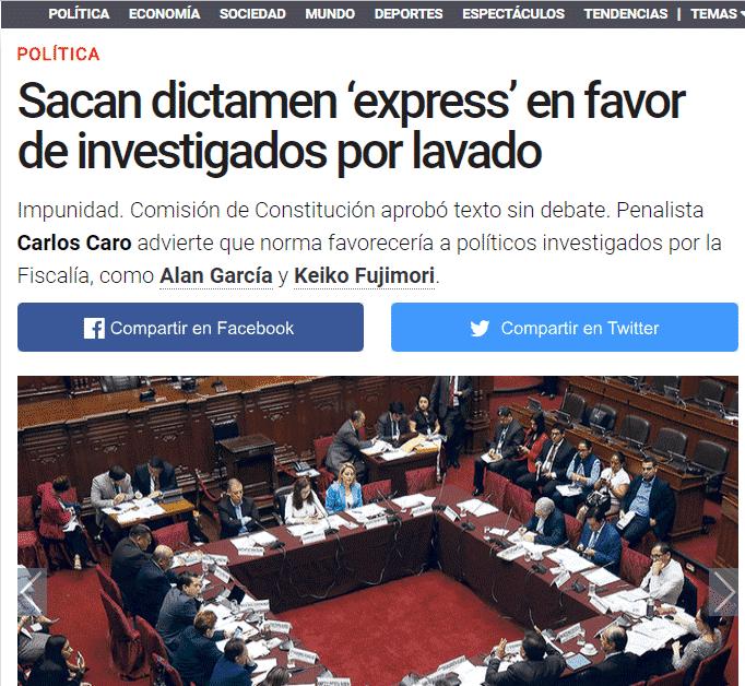 Carlos Caro Coriaopina En ElDiario La República(28.11.18)