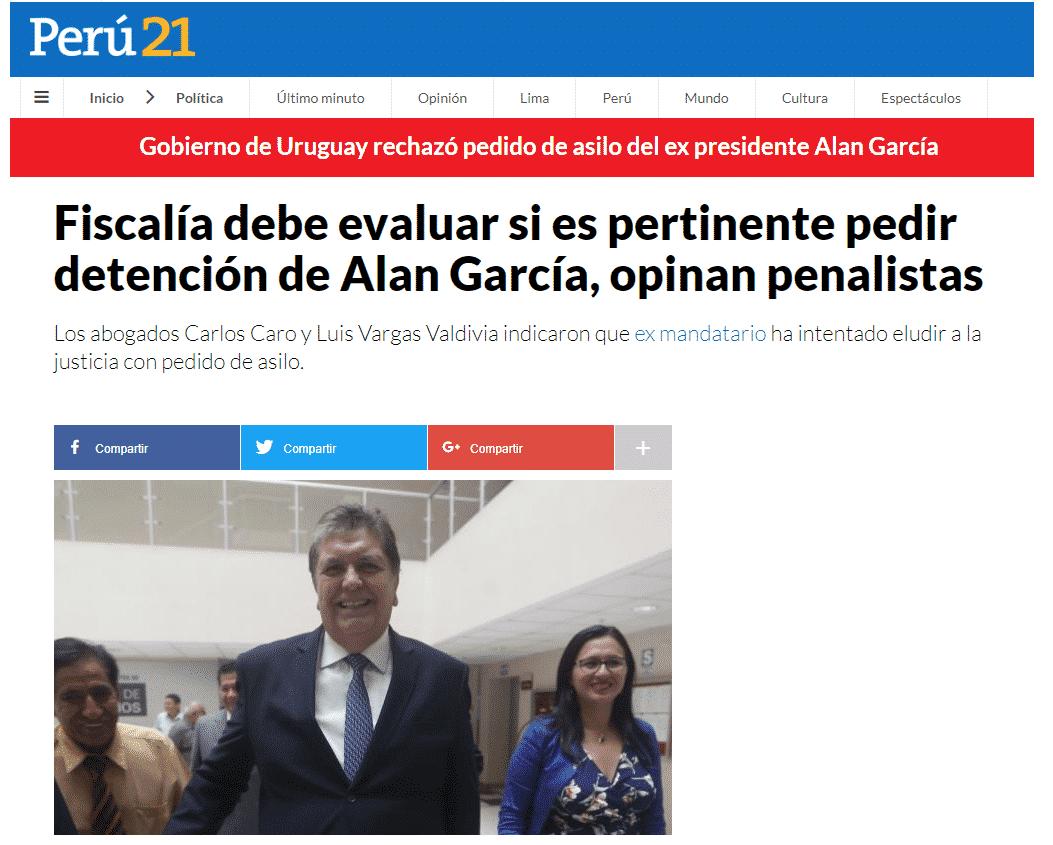 Carlos Caro Coriaopina En DiarioPerú21.pe(03.12.18)