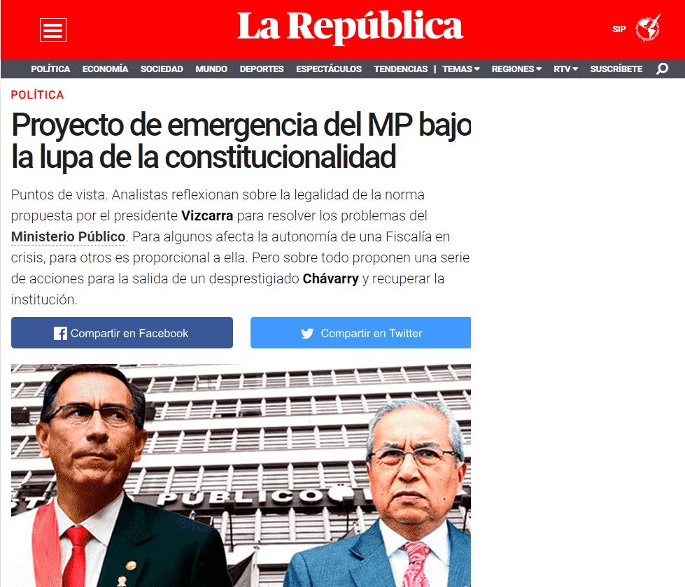 Carlos Caro Coriaopina EnDiario La República(06.01.19)