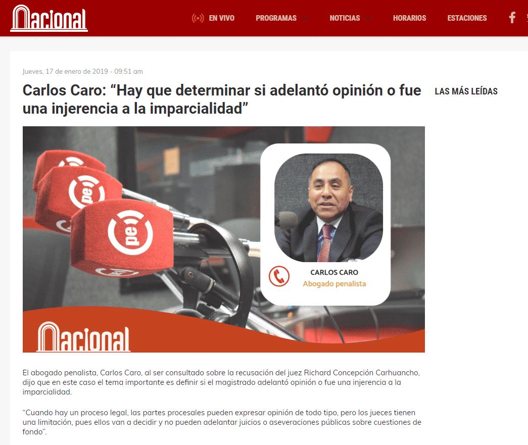 Entrevista ACarlos Caro Coriacomenta EnRadio Nacional Del Perú(17.01.19)