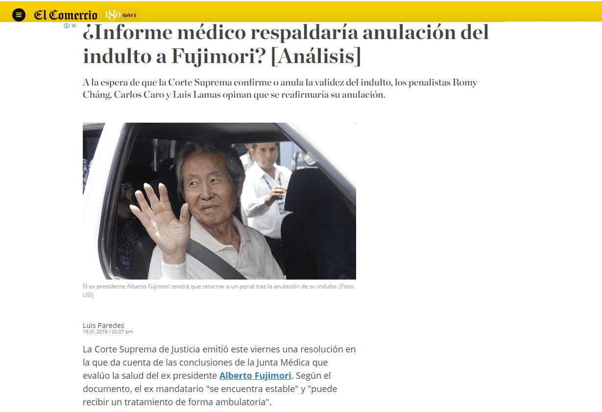 Entrevista ACarlos Caro Coriaen ElDiario El Comercio (Perú)(19.01.19)