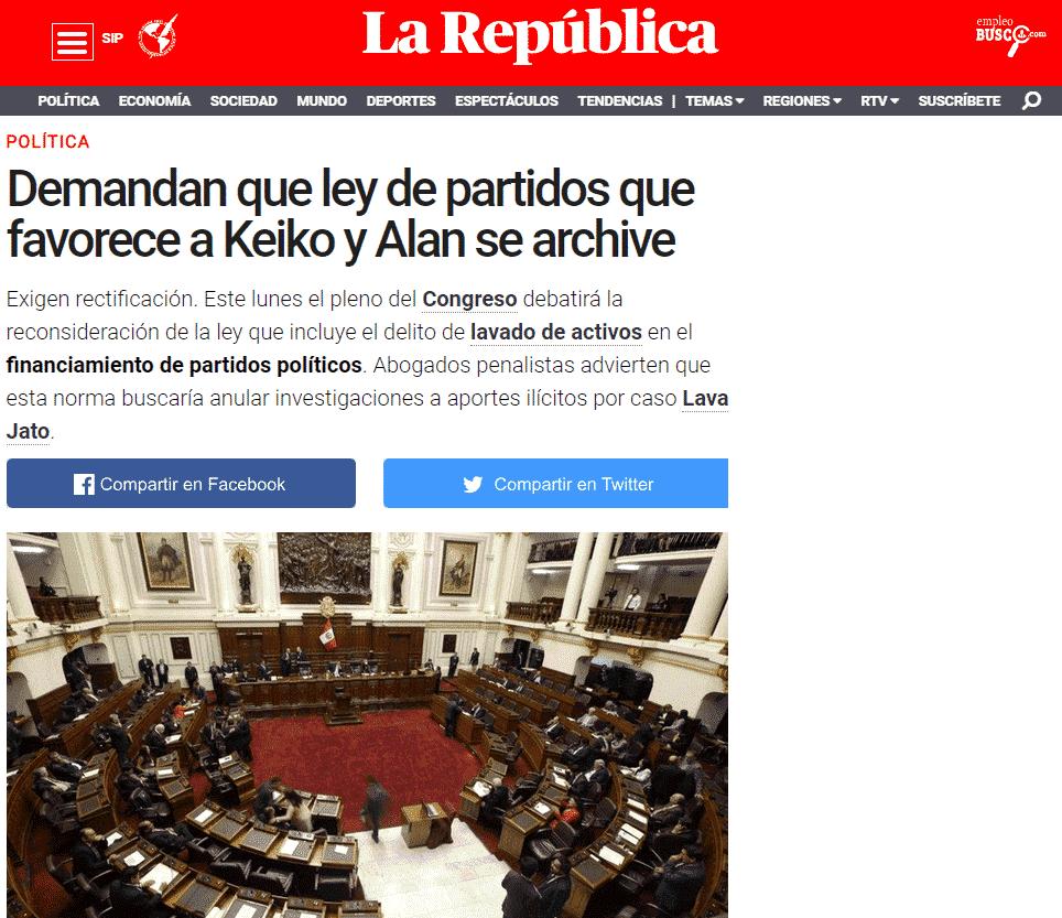 Carlos Caro Coriacomenta EnDiario La República(17.12.18)
