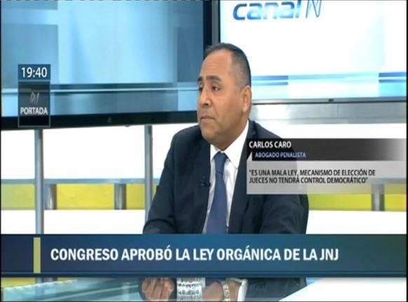 Entrevista a nuestro CEO,Carlos Caro Coriaen 'N Portada' deCanal N (01.02.19), sobre la aprobación por parte del Congreso de La República, de la Ley Orgánica de la Junta Nacional de Justicia.
