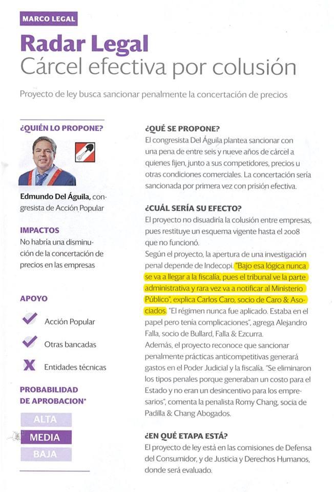 Nuestro CEO,Carlos Caro Coriaopina EnSemana Económica(01.02.19), Sobre Proyecto De Ley Del Congreso Que Busca Sancionar Penalmente La Colusión De Empresas Para Concertar Precios