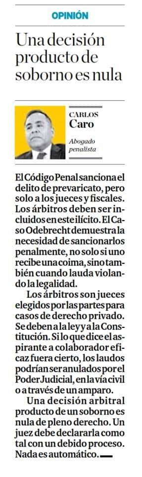 La opinión de nuestro CEO,Carlos Caro Coria, es citada en elDiario El Comercio (Perú)