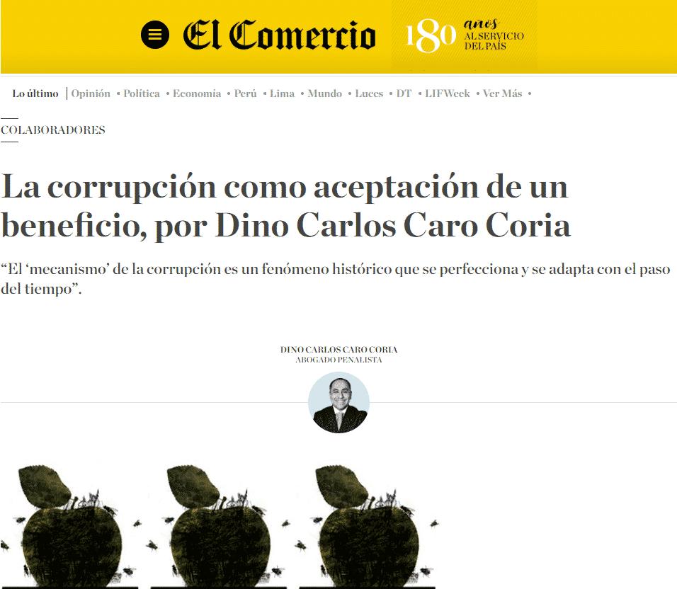 La Corrupción Como Aceptación De Un Beneficio, Por Dino Carlos Caro Coria