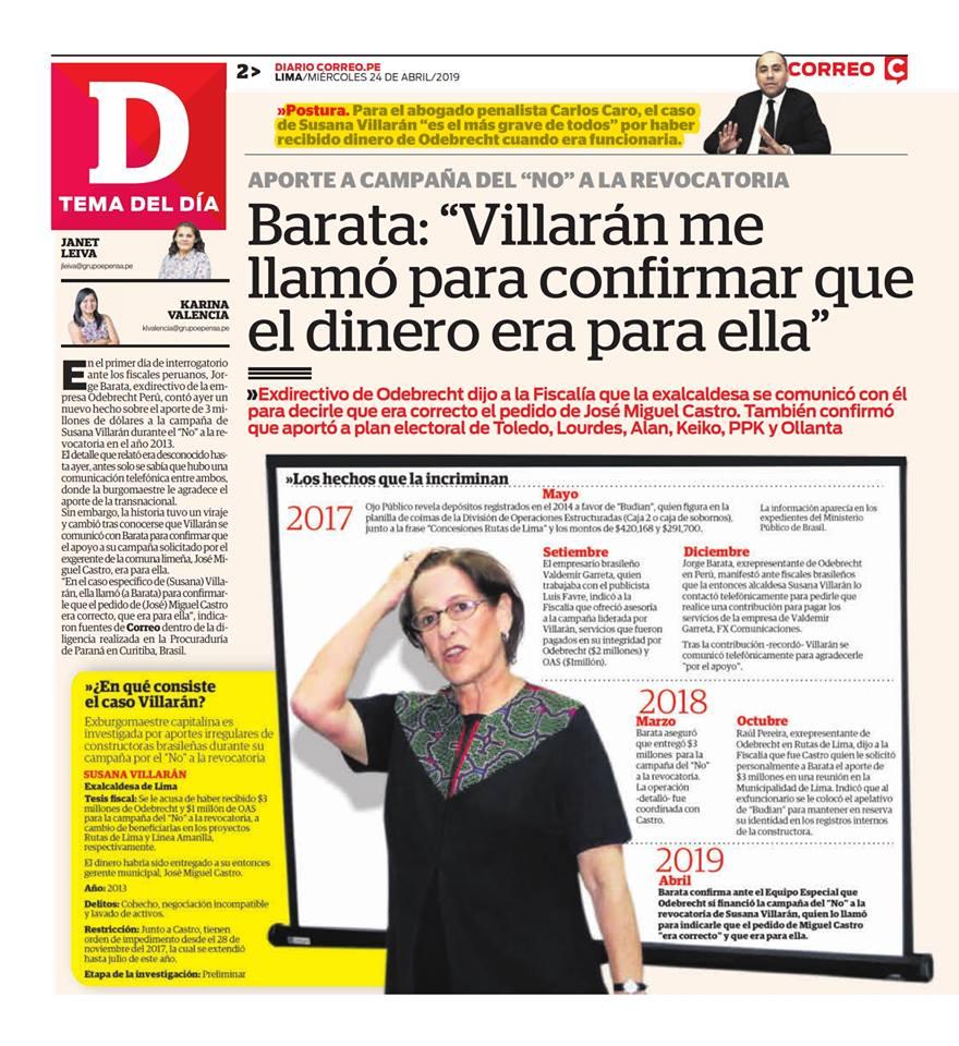 Carlos Caro Coria, Comenta EnDiario Correo(24.04.19), Sobre La Situación Legal De La Ex Alcaldesa De Lima, Susana Villarán
