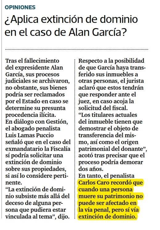 Nuestro CEO,Carlos Caro Coria, Refiere EnDiario Gestión(23.04.19), Sobre Lo Que Podría Ocurrir Con El Patrimonio Del Ex Presidente Alan García