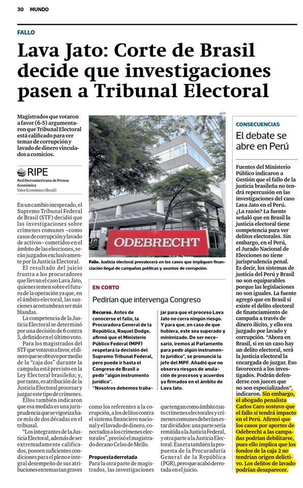 Nuestro CEO,Carlos Caro Coria, Opina EnDiario Gestión– 15.03.19