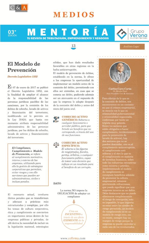Columna De Opinión De Dino Carlos Caro Coria En La Revista Mentoria