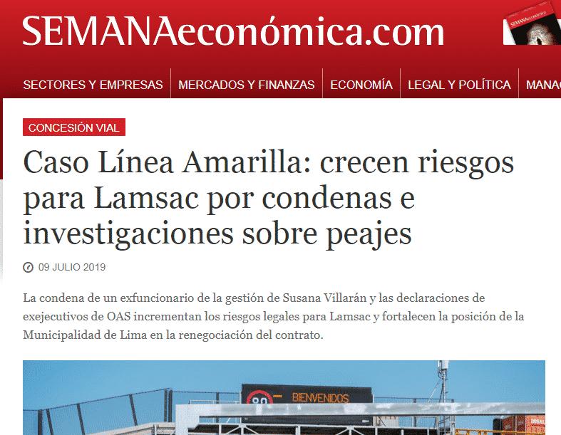 El Caso Del Peaje Línea Amarilla, En Cuanto A Los Avances En Dicha Investigación Fiscal, Y A La Condena Al Ex Funcionario De La MML.