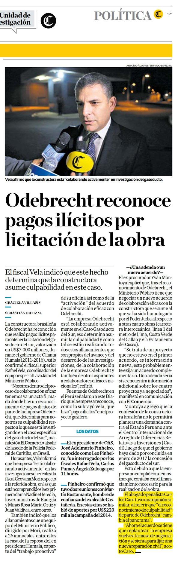 Odebrecht Ha Reconocido Recientemente, Que Hubieron Pagos Ilícitos Para Obtener La Licitación Del Gasoducto Del Sur.