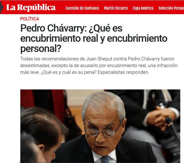 Acusación constitucional contra el Fiscal Supremo, Pedro Chávarry, por encubrimiento real