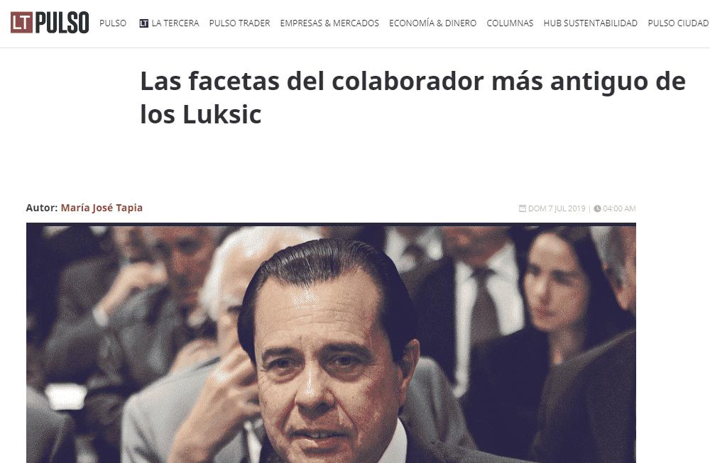 Asesoría Legal Brindada Al Grupo Lucchetti. A Propósito Del Fallecimiento De Gonzalo Menéndez Duque, Quien Fuera Gerente General De Lucchetti En Chile.