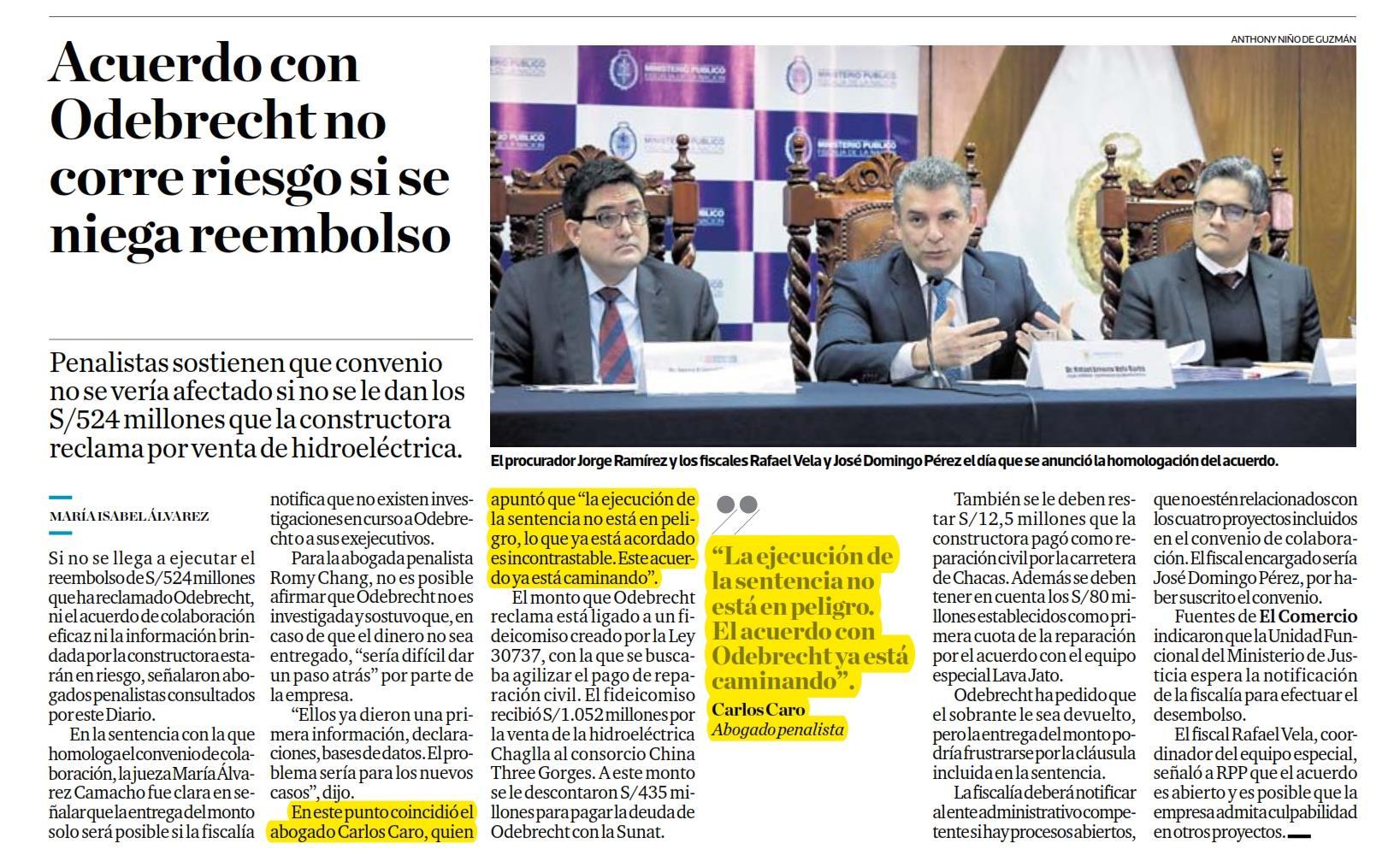 Posibilidad que el acuerdo de colaboración eficaz con Odebrecht, pueda correr riesgo, si se niega el reembolso que exige Odebrecht, por el saldo de la venta de Chaglla.
