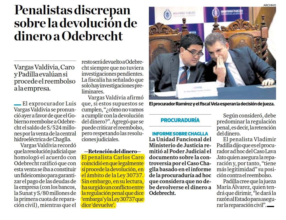 La Devolución Del Dinero A Odebrecht, Por La Venta De Chaglla.