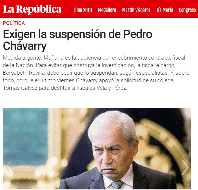 Encubrimiento Real Contra El Fiscal Supremo, Pedro Chávarry, Y La Posibilidad Que Se Dicte Una Medida De Suspensión Del Cargo Para Cautelar La Investigación.