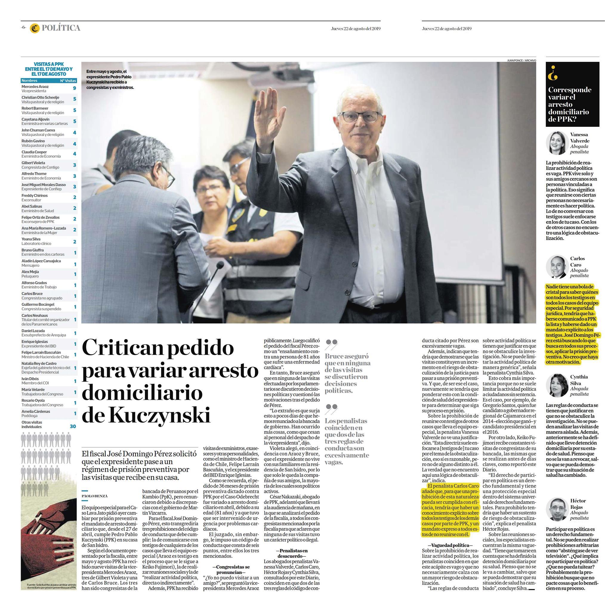 Posibilidad de que se dicte la prisión preventiva contra el ex presidente Pedro Pablo Kuczynski, por haber recibido visitas de testigos de los casos que lleva el equipo especial Lava Jato.