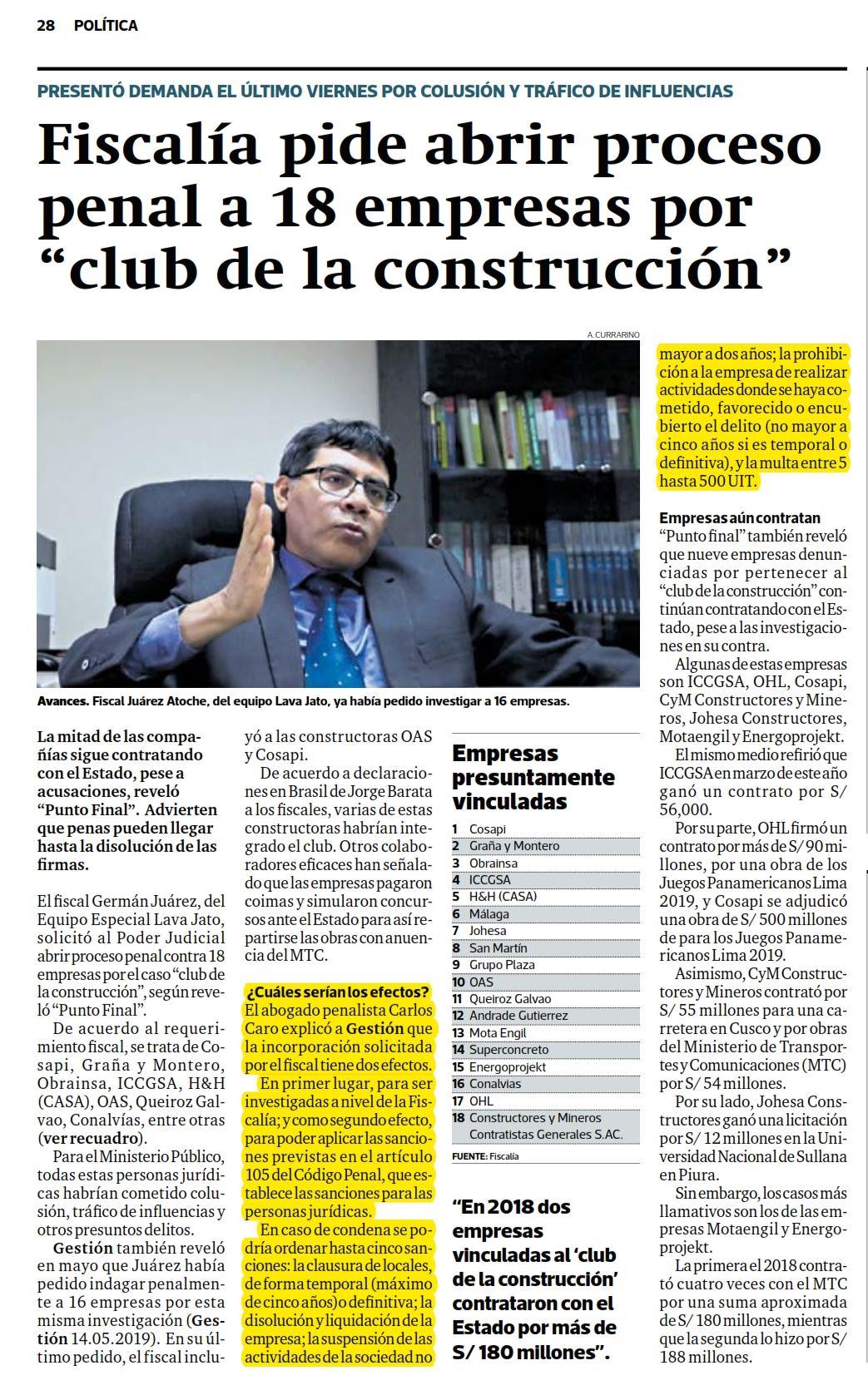 """La Investigación Por El Caso """"Club De La Construcción"""", En La Cual El Fiscal Juárez Atoche, Solicita Abrir Proceso Penal A 18 Empresas."""