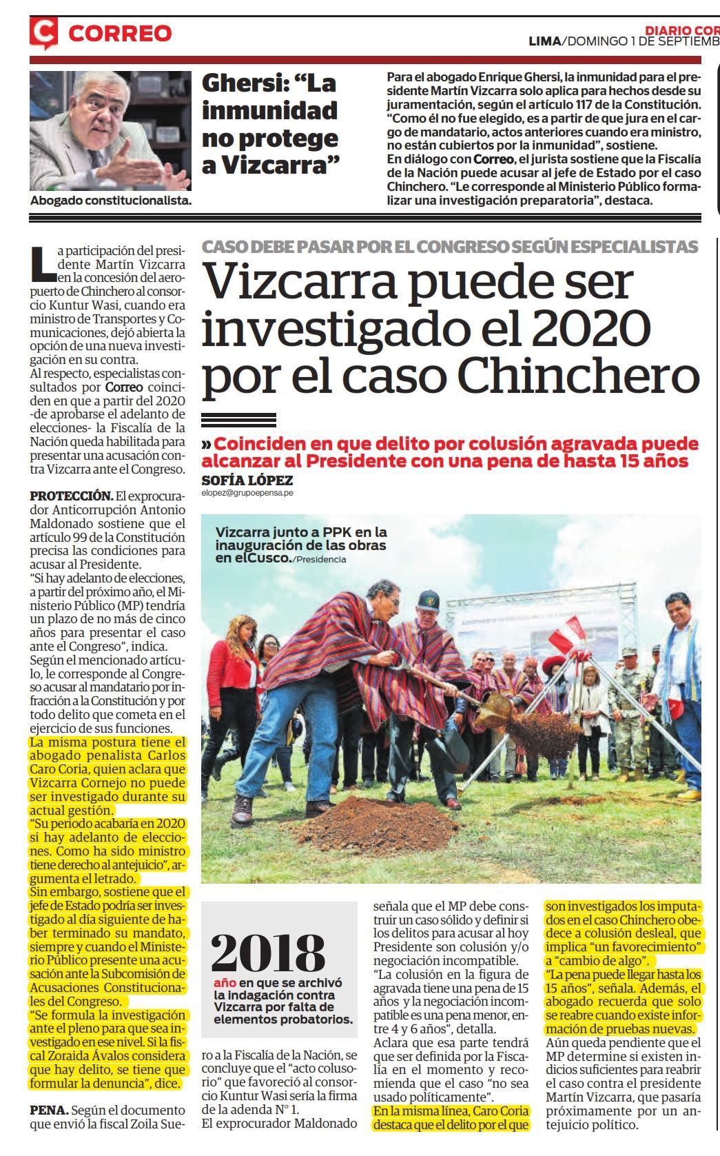 La Posibilidad Que El Presidente, Martín Vizcarra Pueda Ser Investigado Por El Caso Chinchero, Al Terminar Su Mandato.