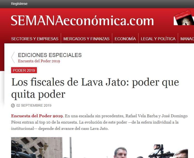 La Encuesta Del Poder 2019, Y En Cuanto A La Posición Alcanzada Por Los Fiscales Del Equipo Especial Lava Jato, Rafael Vela Y Domingo Pérez.