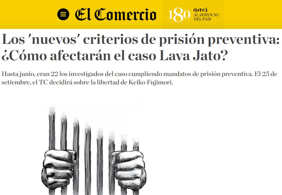 Los Criterios De Prisión Preventiva Establecidos En El El Acuerdo Plenario 01-2019/CIJ-116 De La Corte Suprema De Justicia.