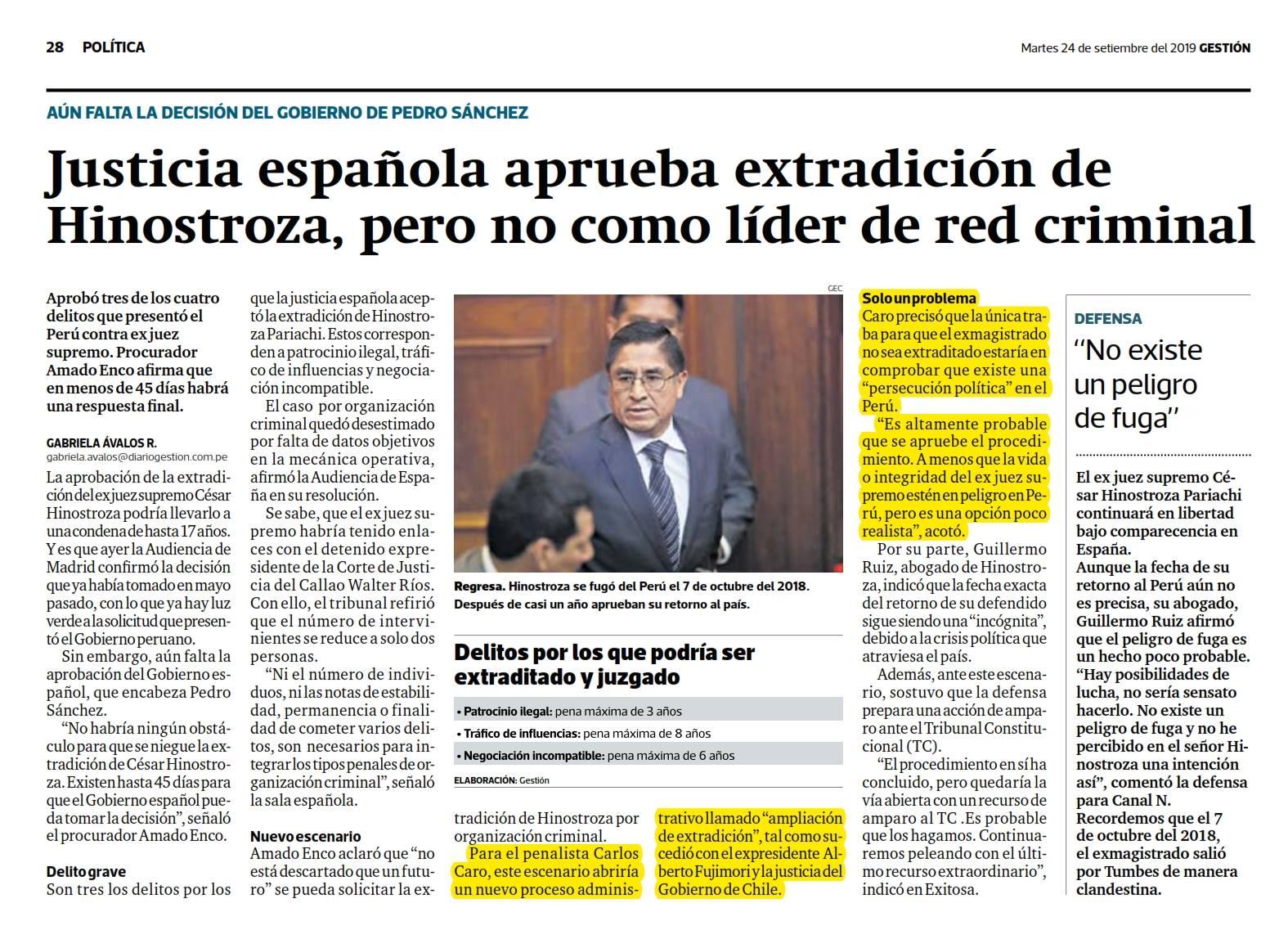 La Extradición Del Ex Juez Supremo, César Hinostroza, Aprobada Por La Justicia Española; Por Los Delitos De Patrocinio Ilegal, Tráfico De Influencias Y Negociación Incompatible.