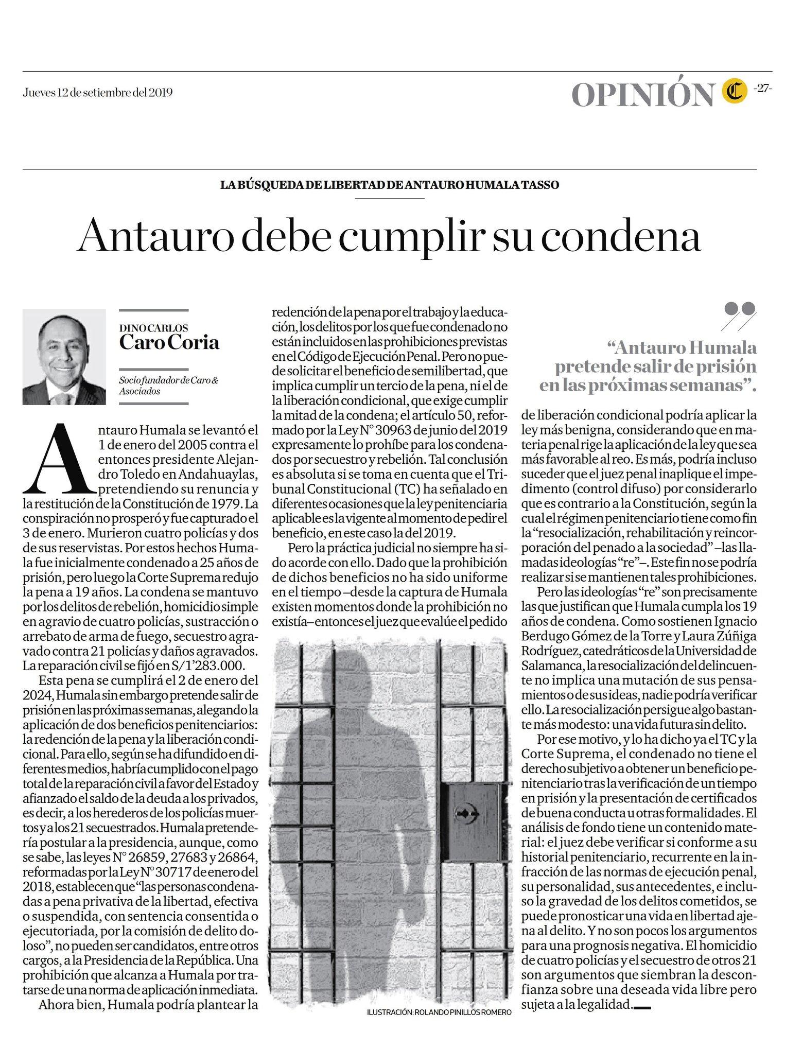 La Posibilidad De Que Antauro Humala Pueda Salir De Prisión, Bajo El Beneficio De La Libertad Condicional.