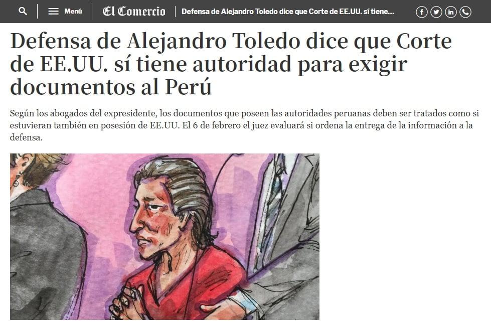 La Solicitud De Los Abogados Norteamericanos De Alejandro Toledo Quienes Exigen Que La Fiscalía Peruana Entregue Documentos Sobre Interrogatorios A Jorge Barata Y Josef Maiman