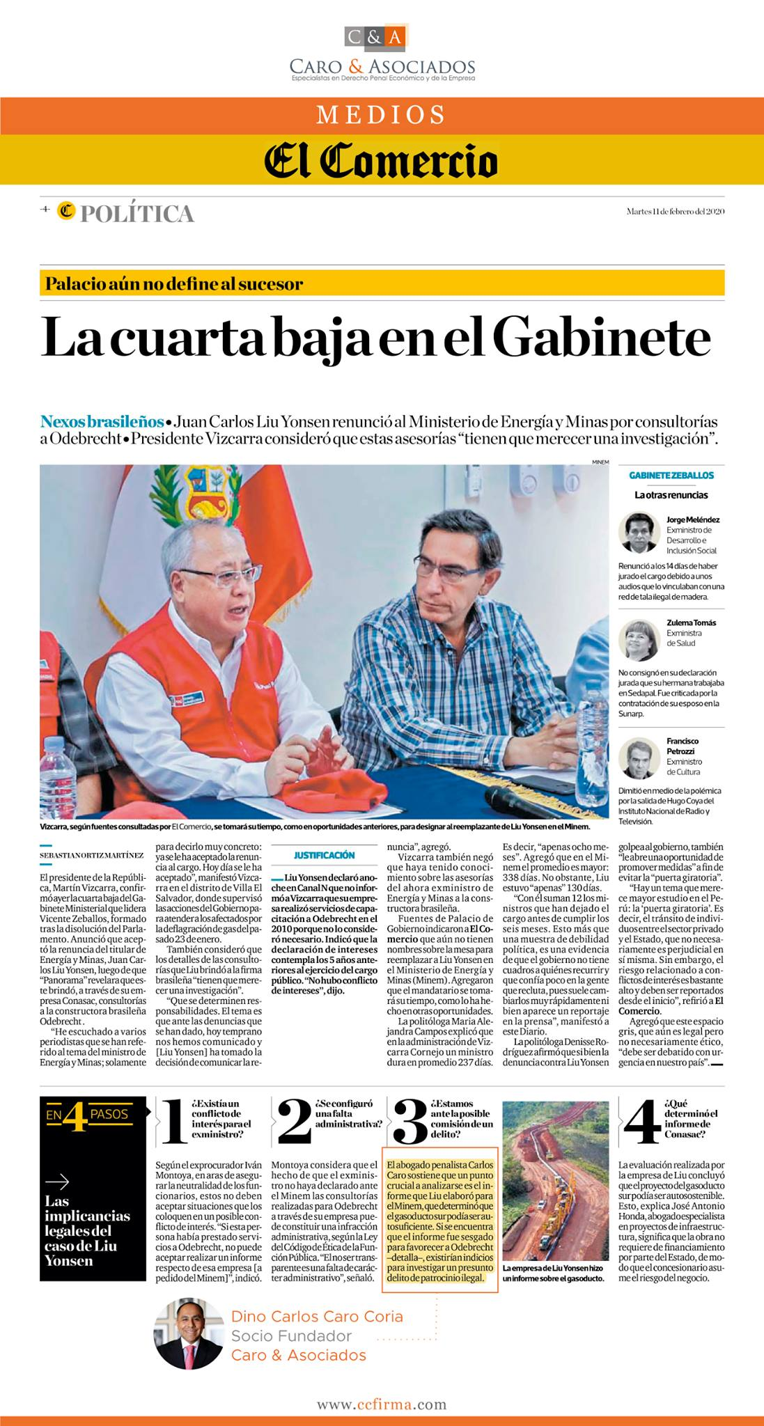 Las Consultorías Que Brindó A Odebrecht, El Ex Ministro Del MINEM, Juan Carlos Liu Yonsen