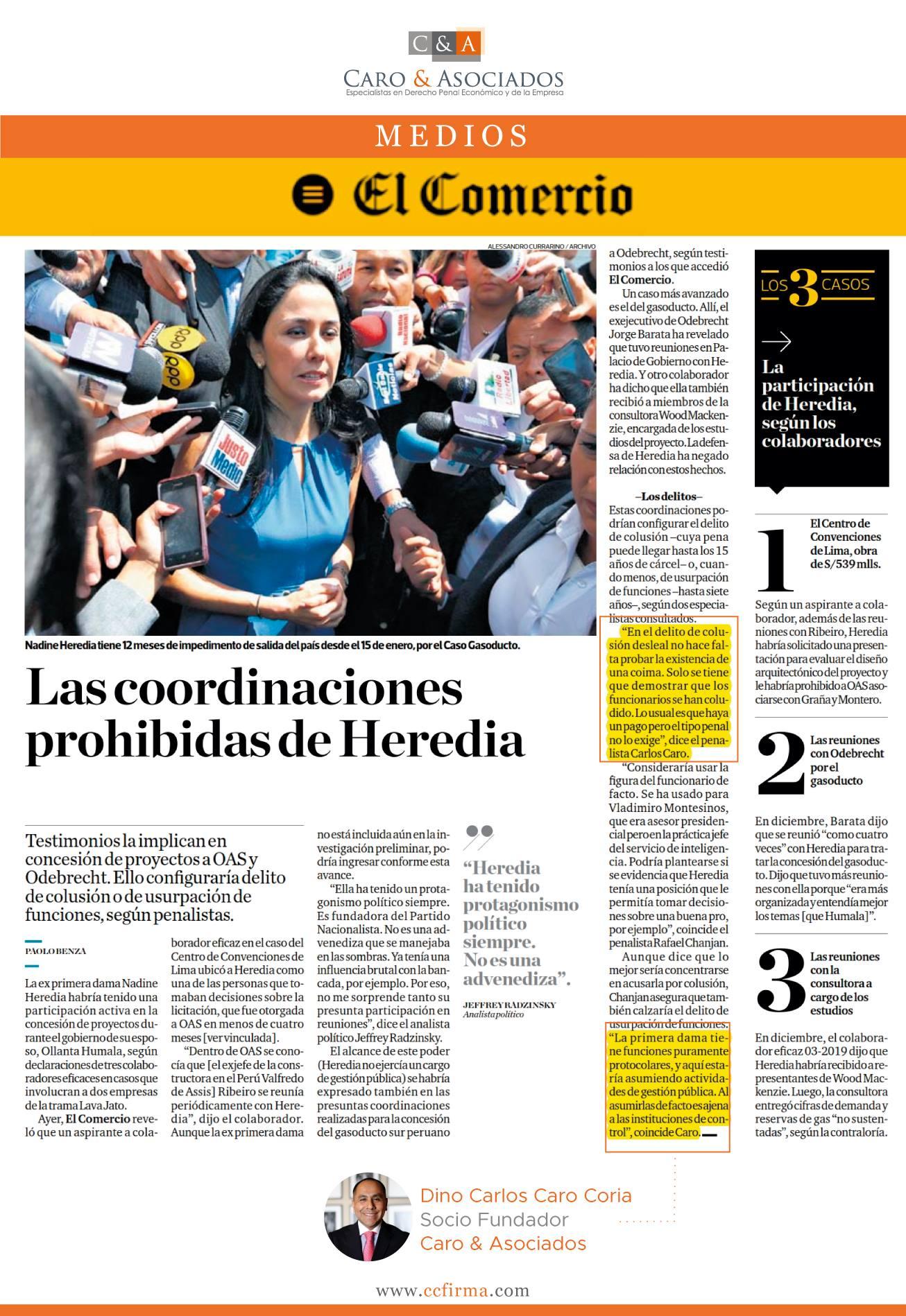 Los Presuntos Delitos Que Podría Haber Incurrido La Ex Primera Dama, Nadine Heredia, Por Coordinaciones Para La Concesión De Proyectos A OAS Y Odebrecht