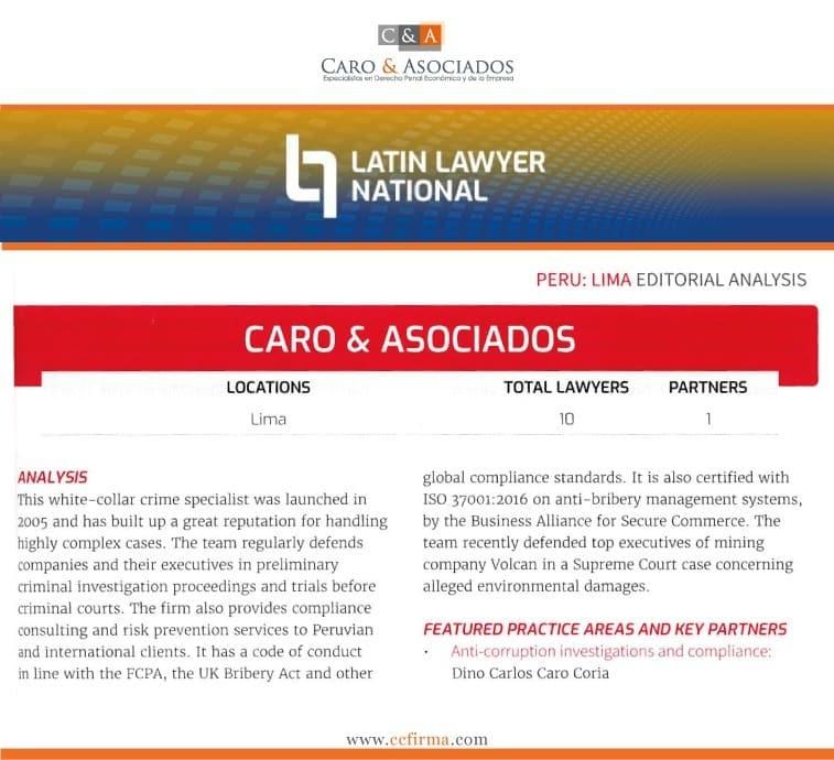 Latin Lawyer National Y Su Reconocimiento A Caro & Asociados Como Líder En El Mercado Peruano