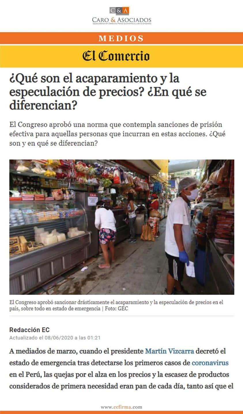 """Dino Carlos Caro Coria 08.06.20: """"¿Qué Son Los Acaparamientos Y La Especulación De Precios? ¿En Qué Se Diferencian?"""""""