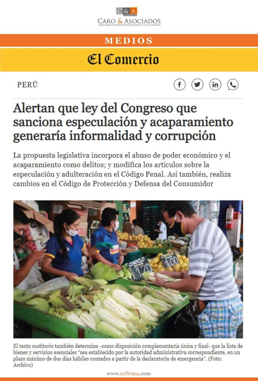 Alertan Que Ley Del Congreso Que Sanciona Especulación Y Acaparamiento Generaría Informalidad Y Corrupción.