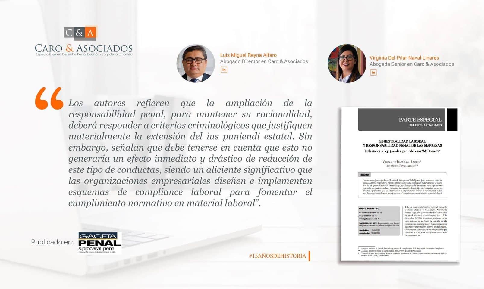 """Siniestralidad Laboral Y Responsabilidad Penal De Las Empresas. Reflexiones De Lege Ferenda A Partir Del Caso """"McDonald´s"""""""