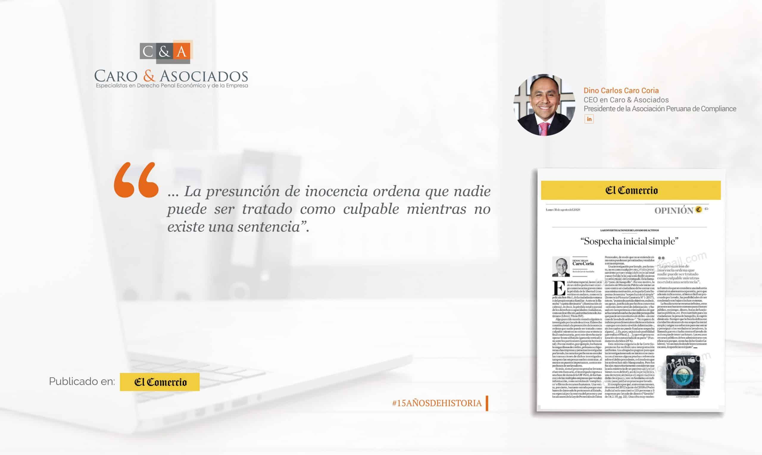 """""""La Sospecha Inicial Simple"""" Por Dino Carlos Caro Coria En El Comercio"""